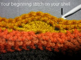Wavy Stitch Slouch Hat 4 - beginning shell st