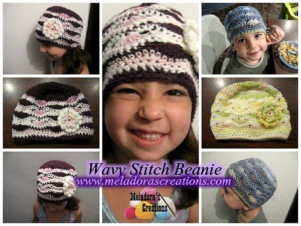 Wavy stitch beanie c
