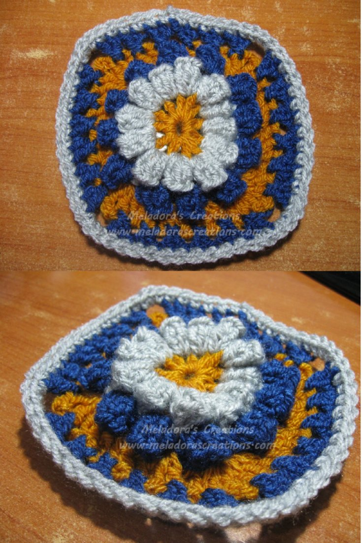 Meladoras Creations Popcorn Granny Square Free Crochet