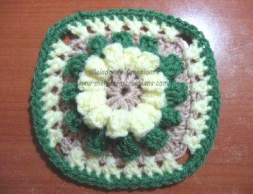 Popcorn Granny Square Free Crochet Pattern