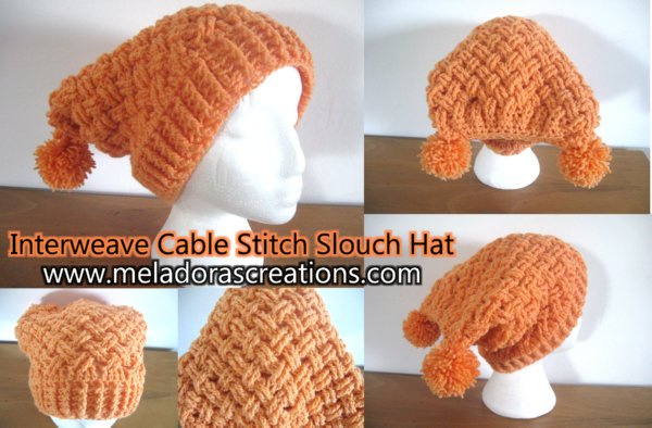 Interweave Cable Stitch Sloutch hat Combined DISPLAY