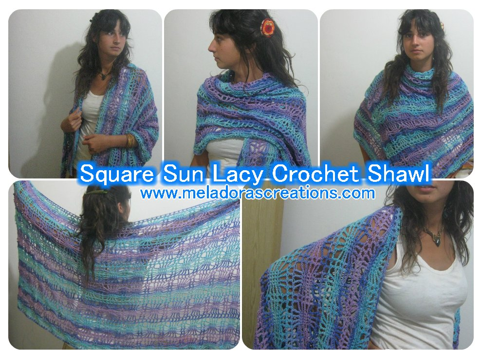 Square Sun Lacy Crochet Shawl – Free Crochet Pattern
