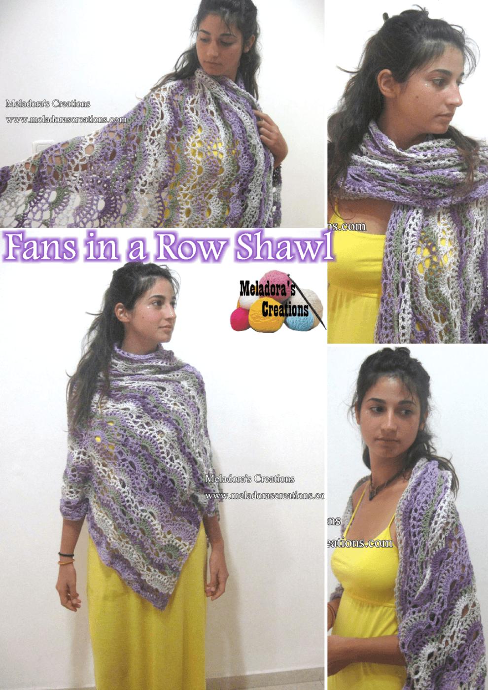 Large Crochet Fan Stitch - Fans in a Row Lacy Shawl – Free Crochet Pattern