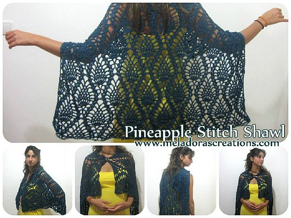 Meladora\'s Creations – Pineapple Lace Stitch Shawl – Free Crochet ...