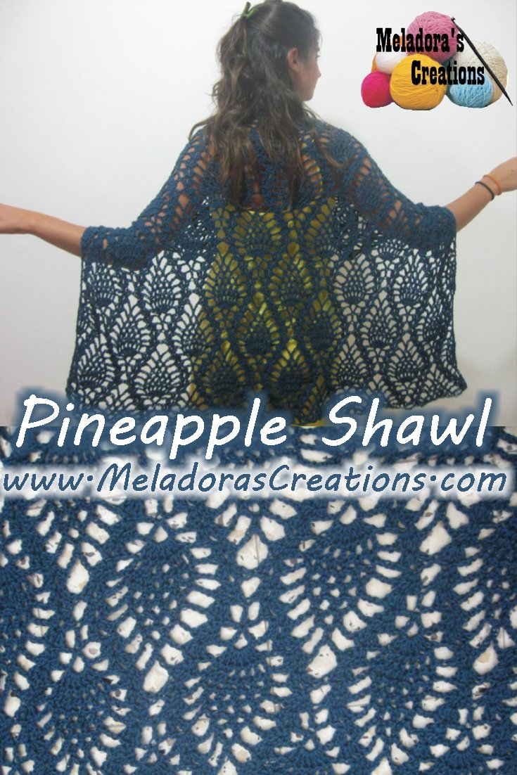 Pineapple Lace Stitch Shawl Free Crochet Pattern