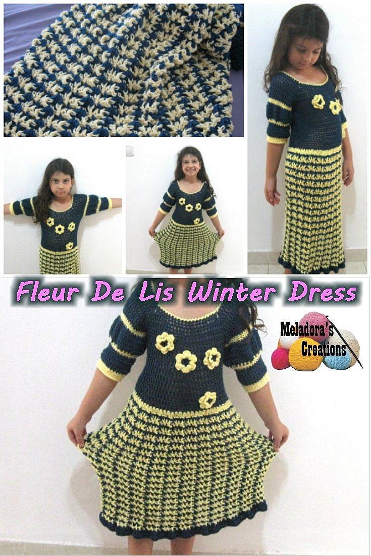 Crochet Dress Pattern for Girls - Free Crochet Pattern - Fleur De Lis Winter Dress Crochet Tutorials