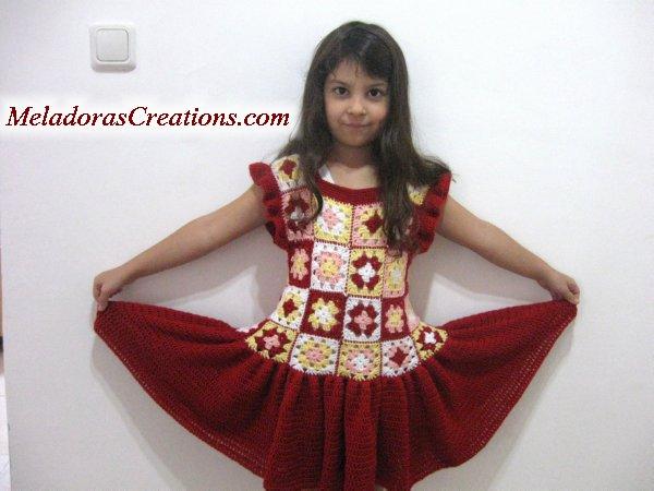 Granny Square Spinning Dress - Free Crochet Pattern