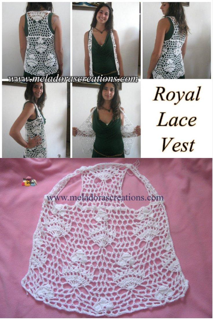 Crochet Lacy Vest - Royal Lace Vest - Free Crochet Pattern