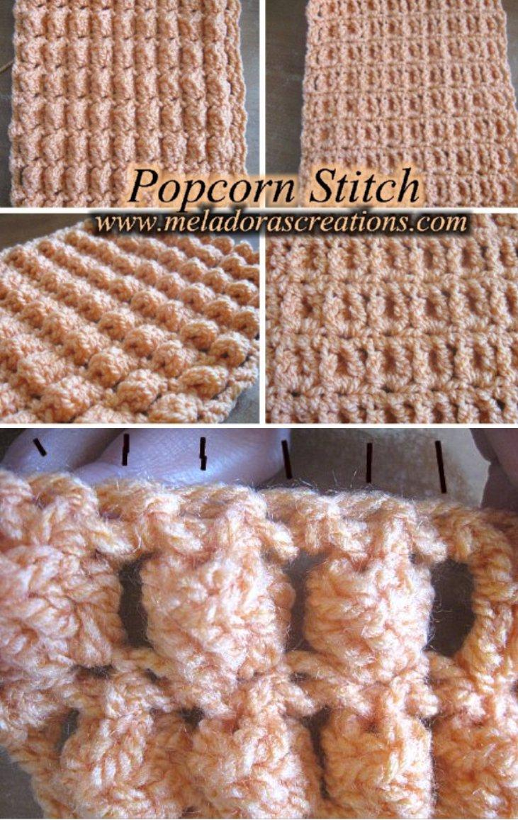 Popcorn Crochet Stitch – Row and Round - Free Crochet Pattern