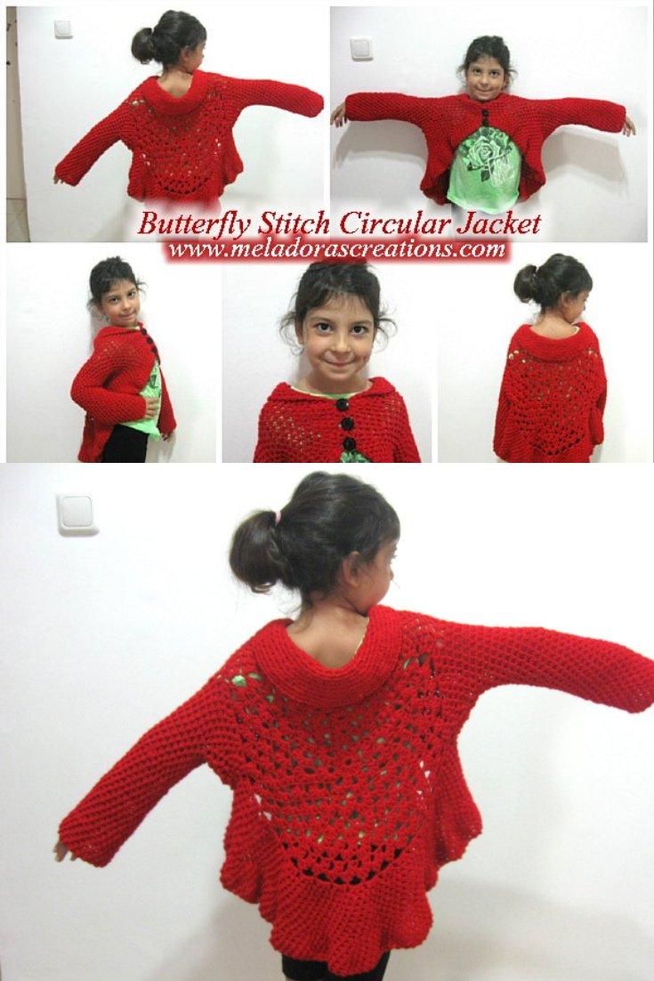 Butterfly Stitch Circular Jacket - Free Crochet Pattern