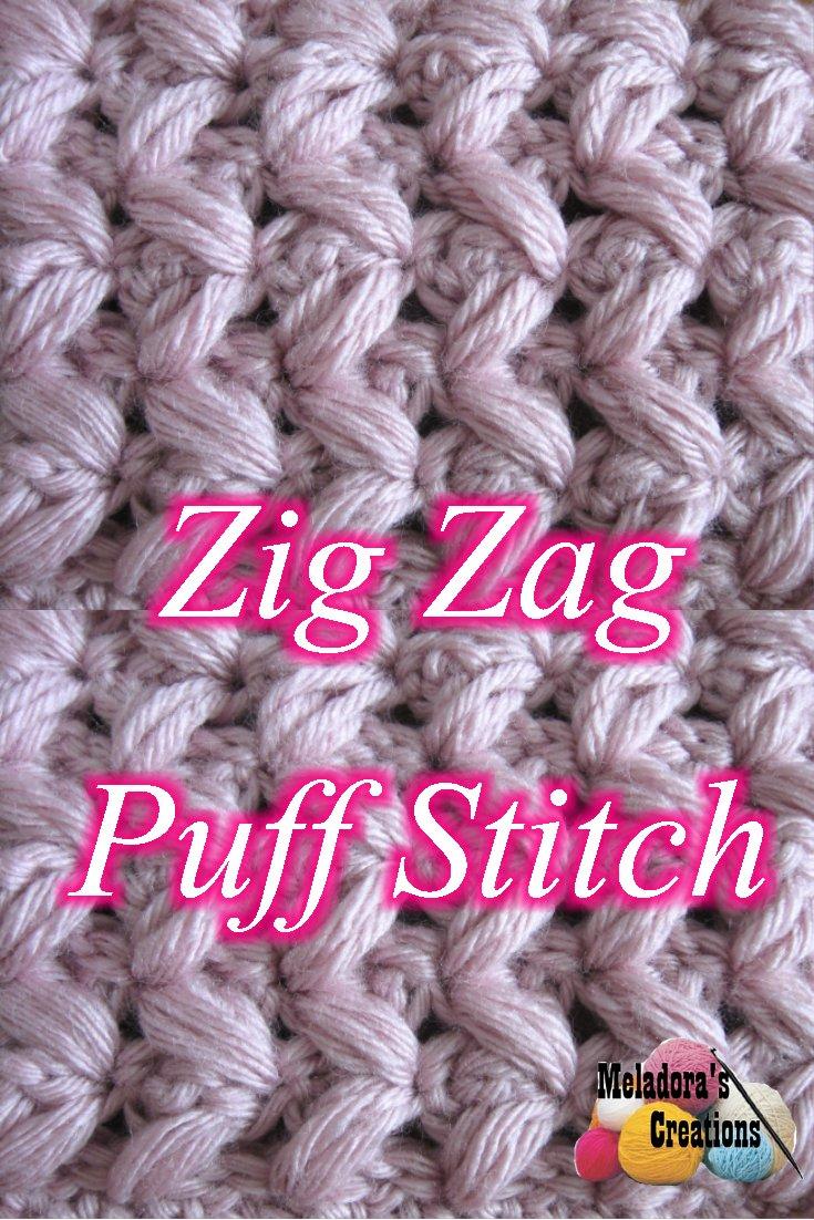 Zig Zag Puff Stitch - in rows - Free crochet pattern