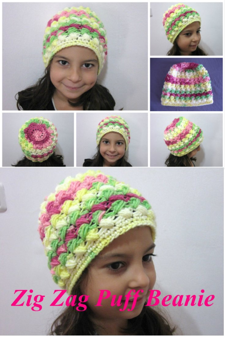 Puff Stitch Crochet Beanie - aka Zig Zag Puff Beanie – Free Crochet Pattern