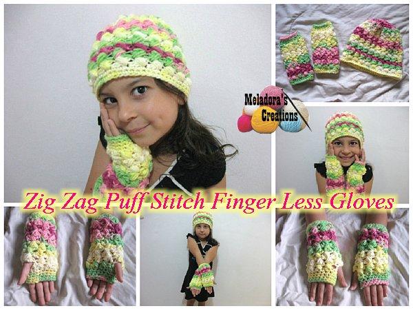 Crochet Zig Zag Puff Stitch : Zig Zag Finger less Gloves 600 WM