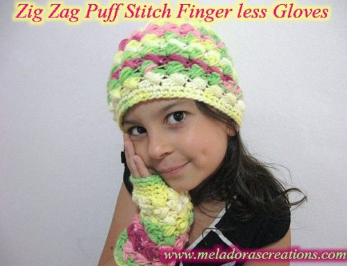 Crochet Finger less Crochet Gloves – Zig Zag Puff Stitch Finger less Gloves – Free Crochet Pattern