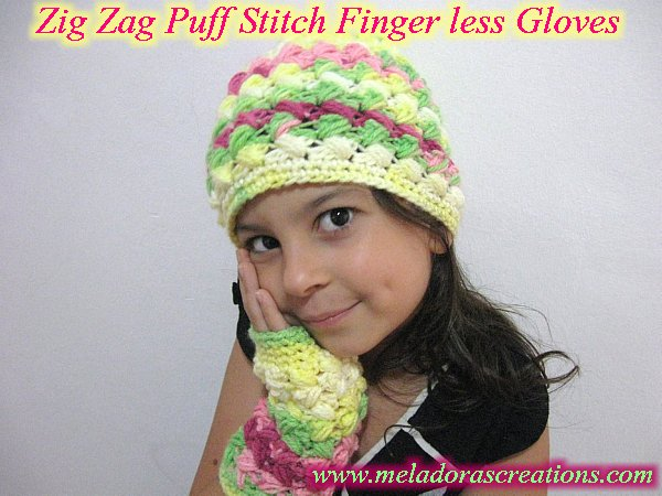 Zig Zag Puff Stitch Finger less gloves Display 600 WM