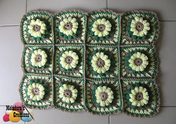 Crochet Granny Square Rug Patterns : Meladoras Creations Popcorn Granny Square Rug