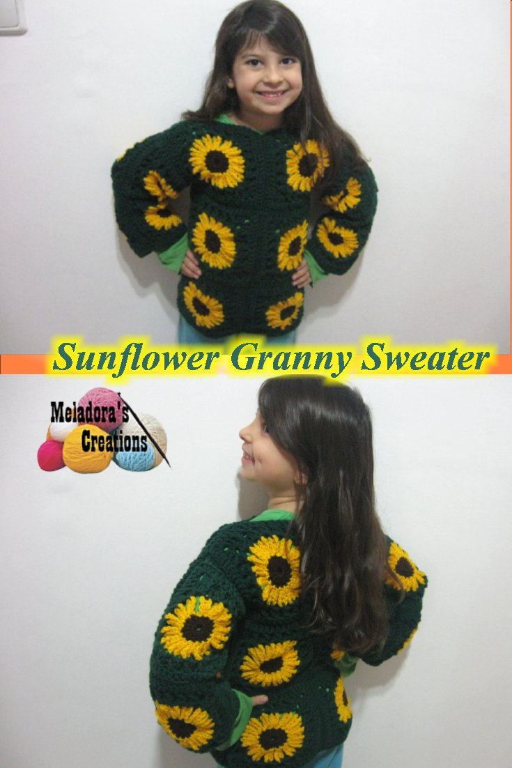 73e404c9895e Sunflower Granny Sweater – Free Crochet Pattern - Meladora s Creations