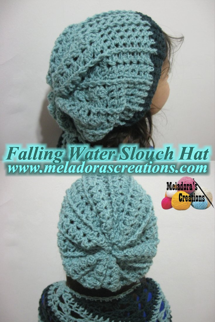 Falling Water Slouch Hat – V Stitch Slouch Hat - Free Crochet Pattern and tutorial
