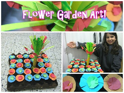 Colored Paper Flower Garden Art - Fun Activity to do with your kids