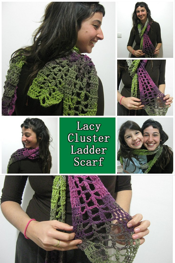 Lacy Cluster Ladder Scarf – Lacy Skinny Scarf - Free Crochet Pattern