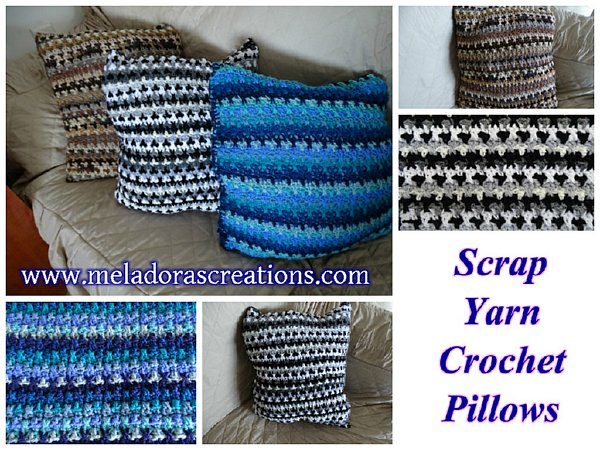 Scrap Yarn Crochet Pillow Combined 600 WM