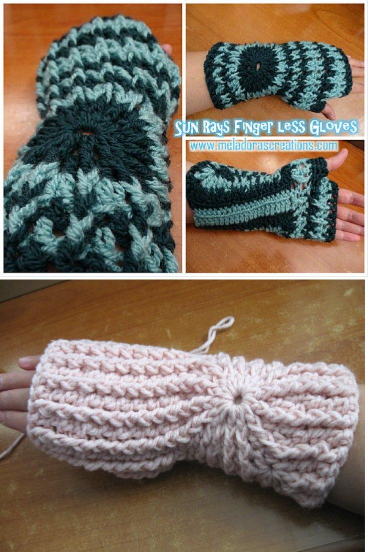 Crochet Finger less Crochet Gloves - Sun Rays Finger less Gloves – Free Crochet Pattern