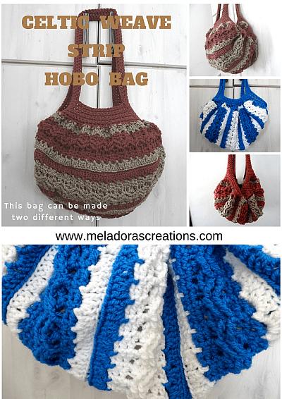 Meladoras Creations Celtic Weave Strip Hobo Bag Free Crochet