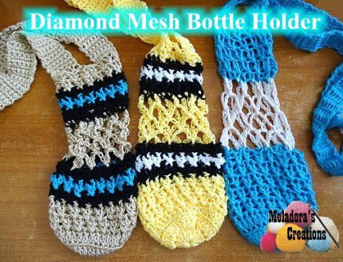 Diamond Mesh Bottle Holder – Free Crochet Pattern