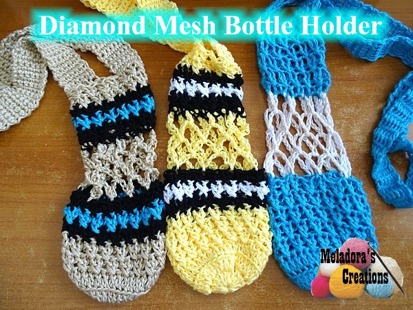 Diamond Mesh Bottle Holder Free Crochet Pattern Meladoras Creations