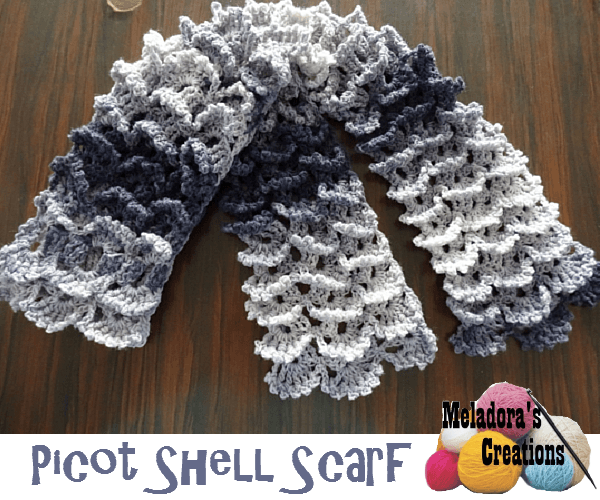 Picot Shell Stitch Scarf Free Crochet Pattern Meladoras Creations