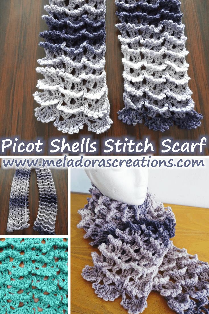 Meladora\'s Creations – Picot Shell Stitch Scarf – Free Crochet Pattern