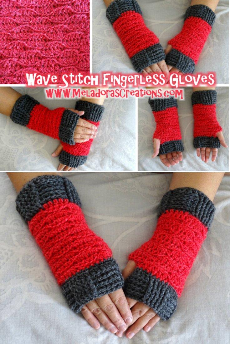 Wave Stitch Finger less gloves Crochet - Free Crochet Pattern