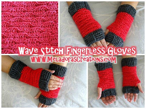 Wave Stitch Finger Less Gloves Free Crochet Pattern Meladoras