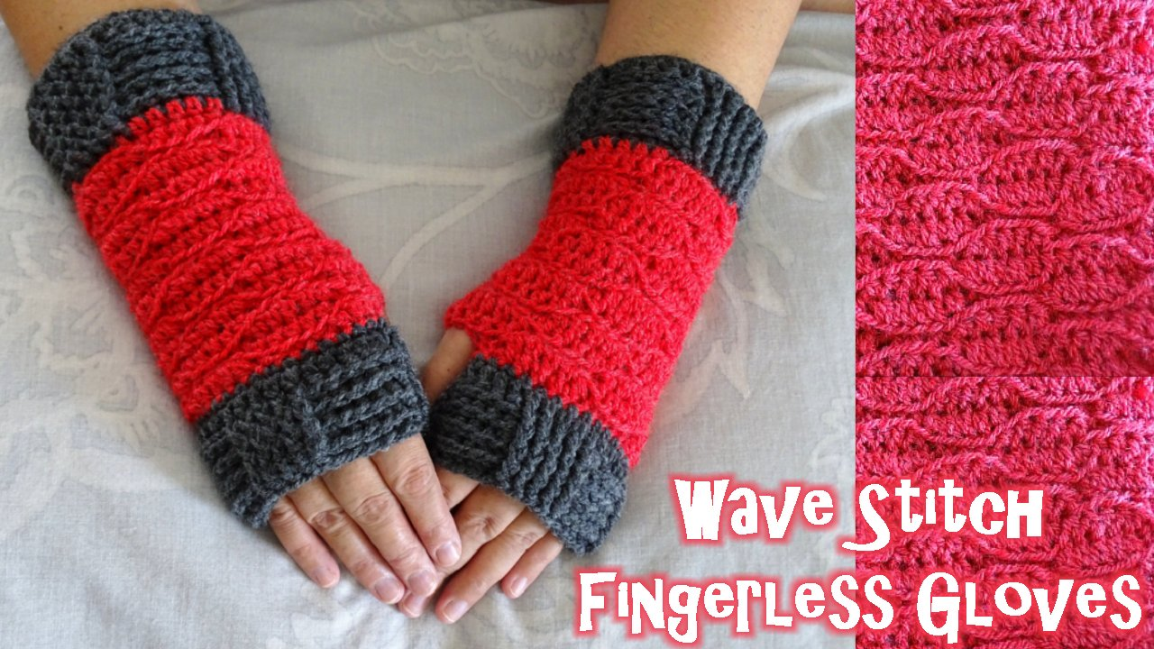 Meladoras Creations Wave Stitch Finger less gloves - Free Crochet ...