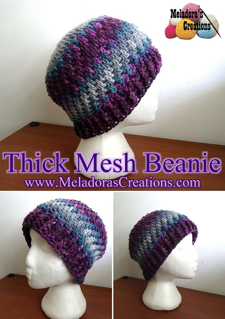 Meladora\'s Creations – Thick Mesh Beanie – Free Crochet Pattern