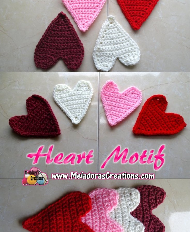 Crochet Heart Motif Applique PINTEREST