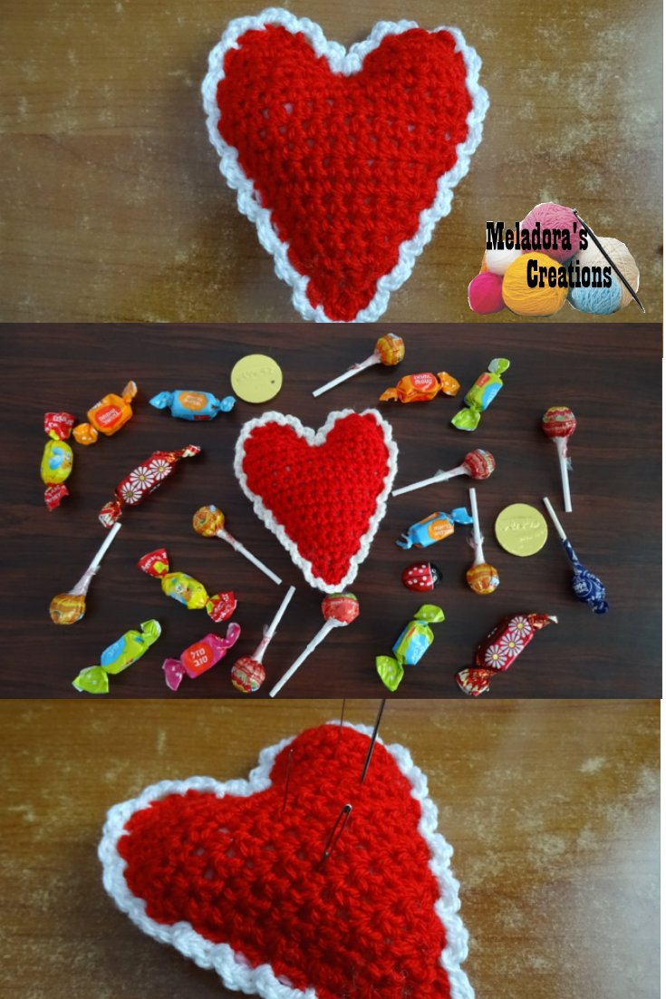 Meladora\'s Creations – Crochet Heart Pin Cushion or Decoration ...