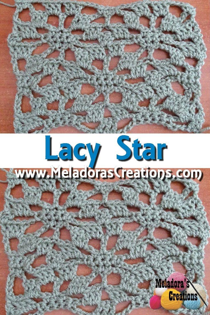 Mesh Star Filet Crochet Stitch Free Crochet Pattern - aka Lacy Star