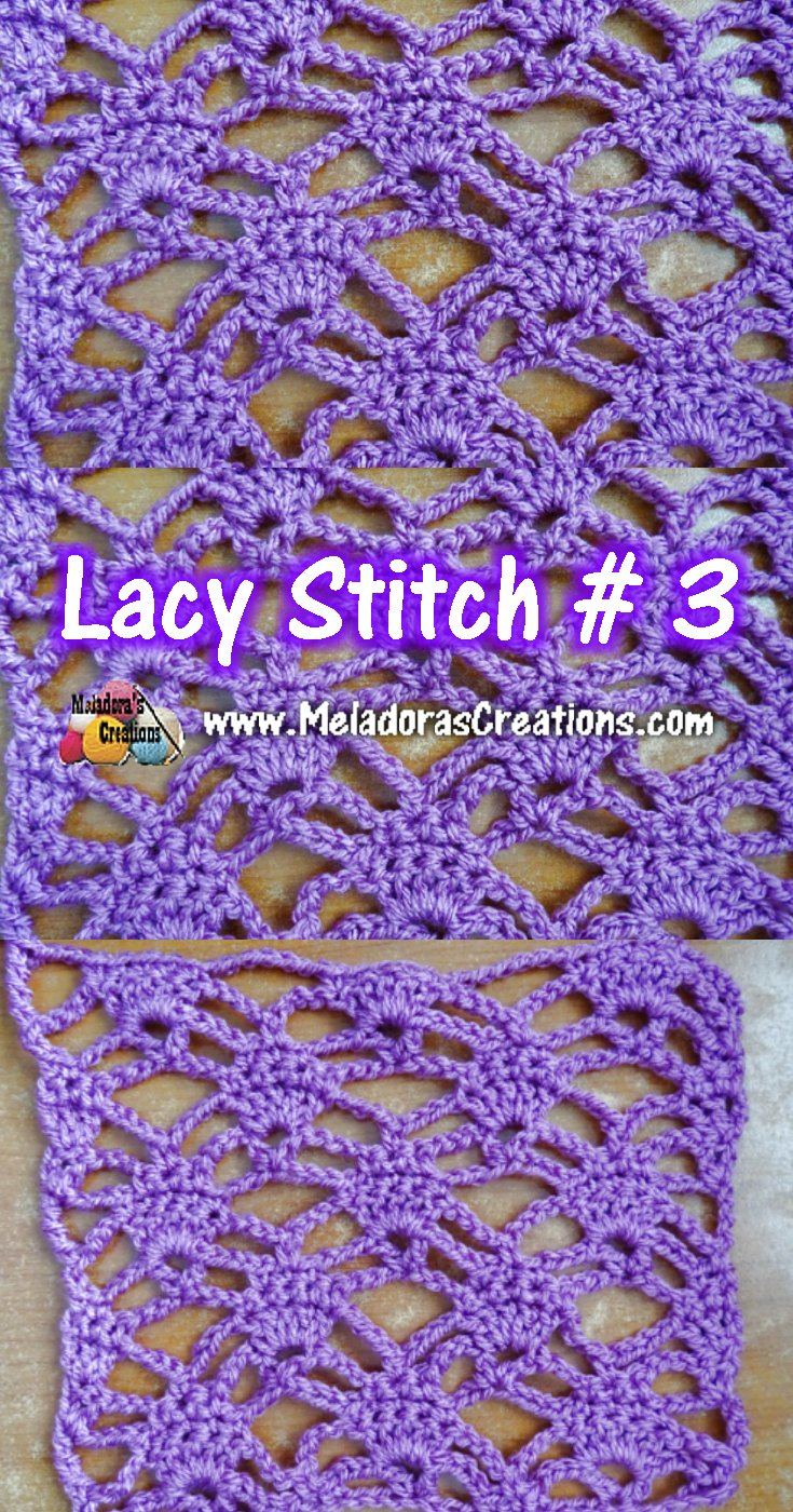 Lacy Crochet Stitch 3 - Crochet Tutorials and Chart