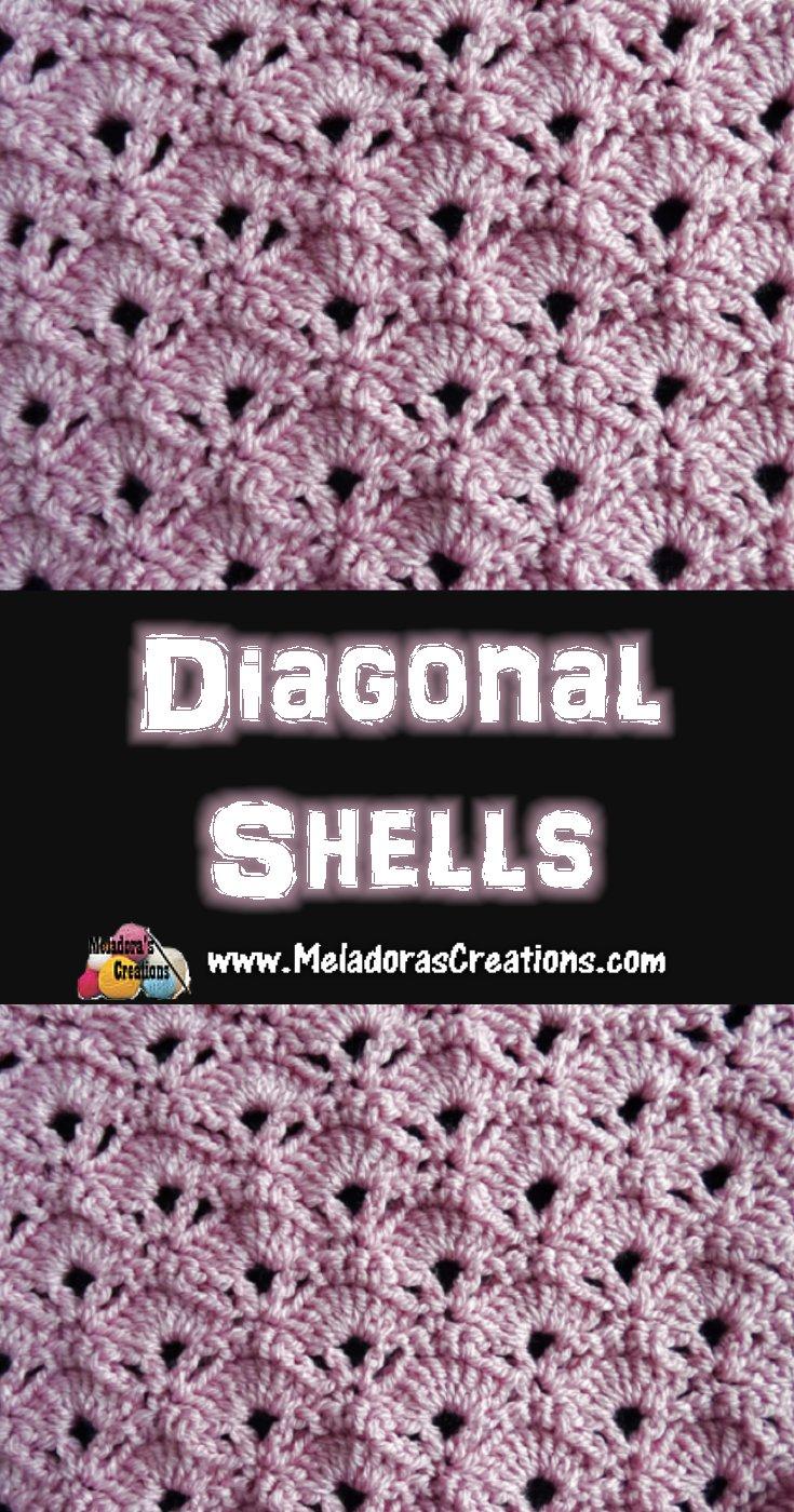 Diagonal Shells Crochet Stitch - Free Crochet pattern - Meladora's