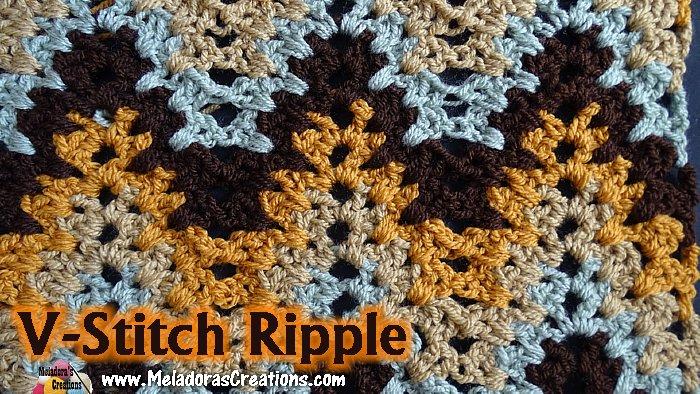 V Stitch Ripple Crochet Stitch Free Crochet Pattern Meladoras