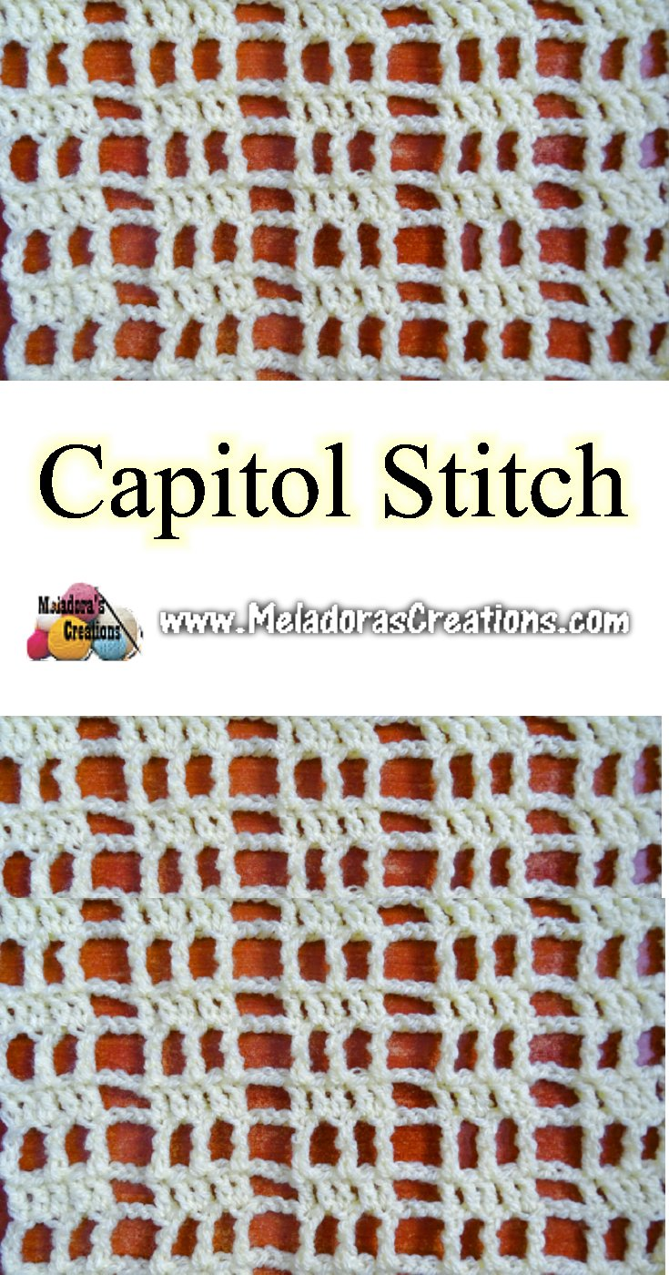 Crochet Mesh Stitch Pattern - Capitol Crochet Stitch - Filet crochet