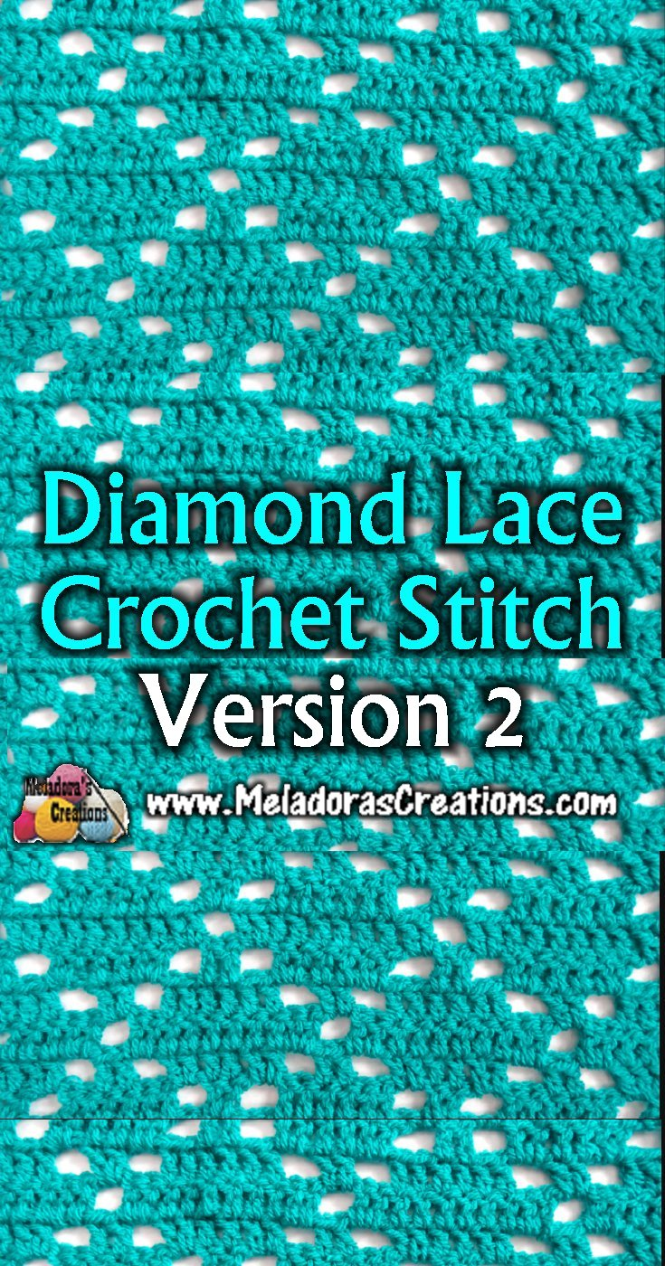 How to crochet a Diamond pattern - Diamond Lace Crochet Stitch 2 -  Free Crochet Tutorials