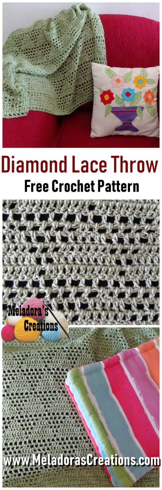 Diamond Lace Afghan Free Crochet Pattern And Tutorial Meladoras