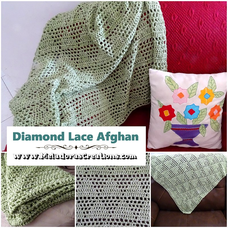 Crochet Diamond Mesh - Diamond Lace Afghan - Free Crochet Pattern and Tutorial - Filet Crochet Afghan