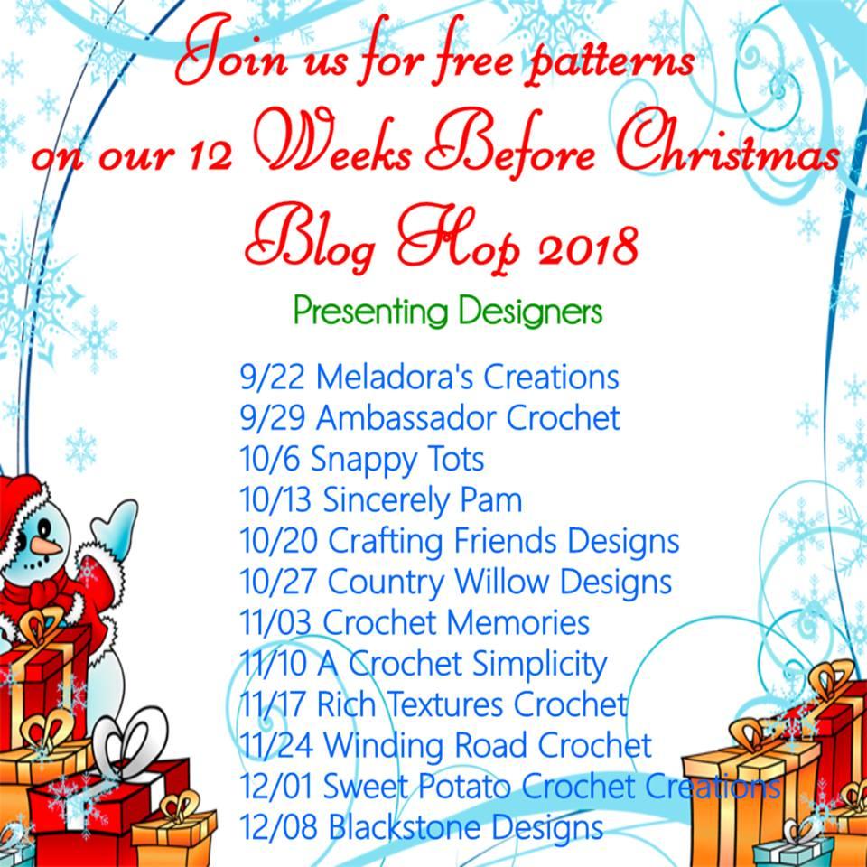12 weeks before Christmas Crochet Blog Hop - 2018