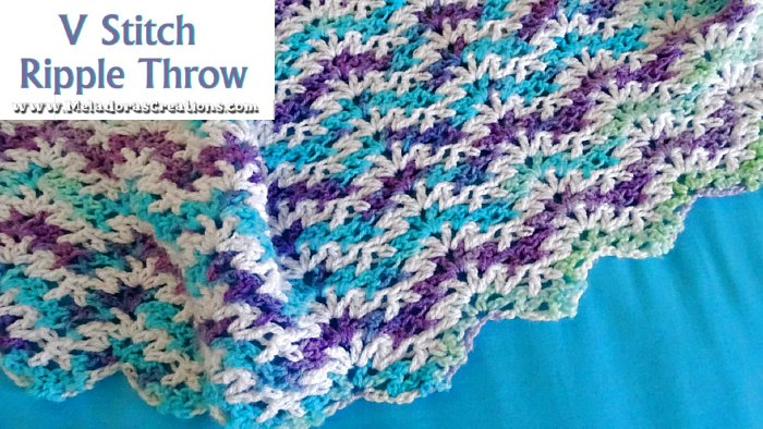 Ripple V Stitch Afghan Throw – Free Crochet Pattern and Tutorial