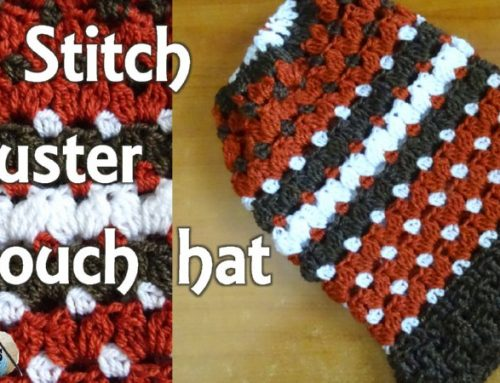 V stitch Cluster Slouch Hat  – Free Crochet Pattern and Tutorial