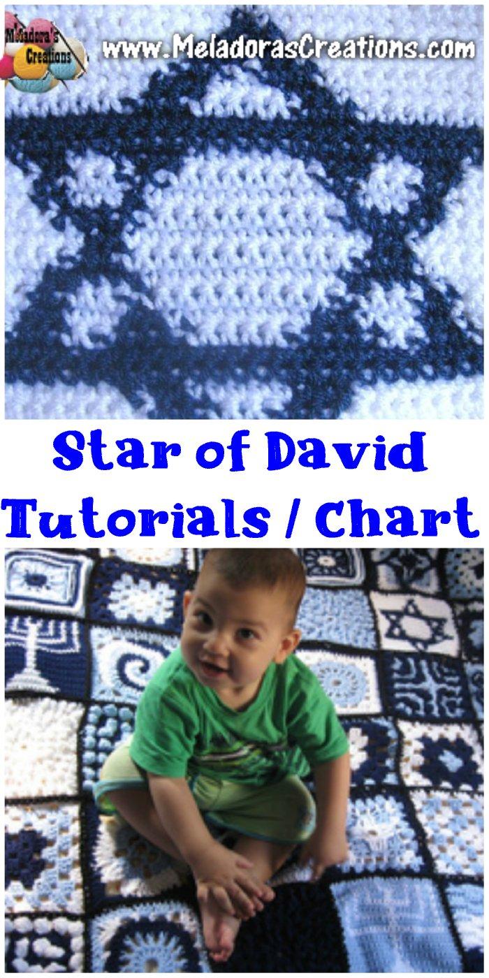 Star Of David Granny Square - Tapestry Crochet - Free Crochet Chart Pattern & tutorial