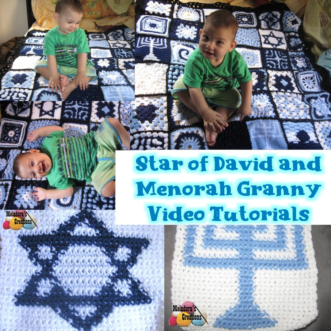 Star of David and Menorah Crochet Tutorials - Crochet Granny Square